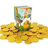 St. Patrick's Day Lucky Belgian Milk Chocolate Gold Coins, Nut Free, Kosher Certified, 1LB Leprechaun Box (Single)