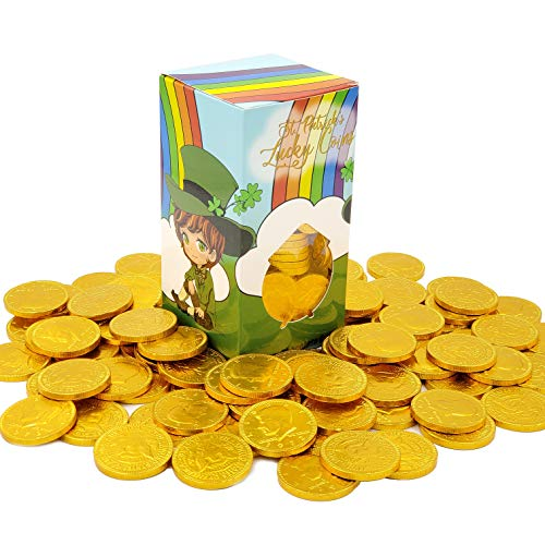 St. Patrick's Day Lucky Belgian Milk Chocolate Gold Coins, Nut Free, OU-D Kosher, 1LB Leprechaun Box (Single)