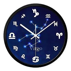 CC Timeon Modern King Size Quartz Wall Clock Non Ticking Quiet Sweep Decorative Clocks, Constellation, 12inches, Virgo