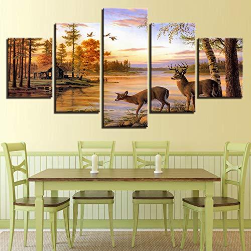 LPHMMD 5 canvas paintings Canvas Paintings Home Decor 5 Pieces Deers Pictures HD Prints Lake Landscape Sunset Poster Living Room Wall Art-30x50cm 30x70cm 30x80cm