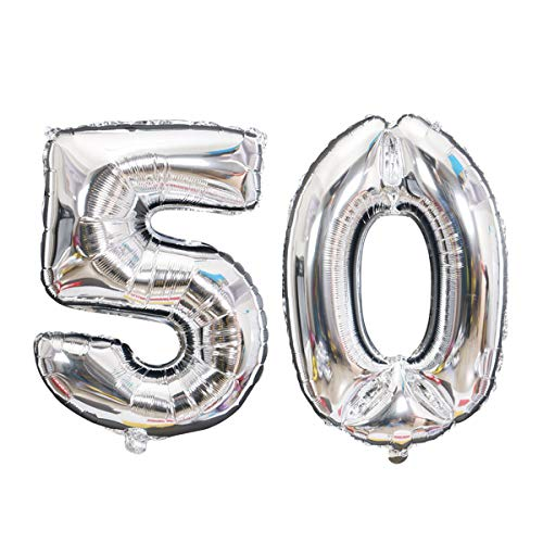 Silver Number 50 Foil Helium Balloons