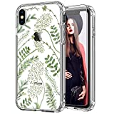 ICEDIO iPhone Xs Max Case with Screen Protector,Clear with Green Leaves Floral Flower Patterns for Girls Women,Shockproof Slim Fit TPU Cover Protective Phone Case for iPhone Xs Max