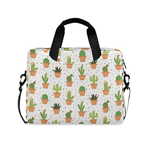 iRoad 15.6 Inch Laptop Bag Case Floral Aloe Vera Cactus Computer Case Laptop Sleeve Case with Shoulder Strap Bag for Women Men