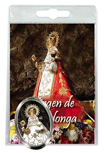 Imán Virgen de Covadonga de metal niquelado con oración en español (paquete de 3 piezas)
