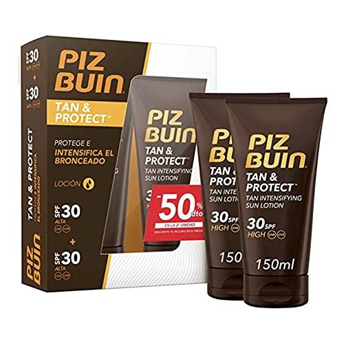 Piz Buin, Tan & Protect Loción Solar Intensificadora del Bronceado SPF 30 Protección Alta, Pack de 2 x 150 ml