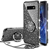 OCYCLONE Galaxy S10 Case, Glitter Luxury Cute Phone Case for Women Girls with Kickstand, Bling Diamond Rhinestone Bumper with Ring Stand Compatible with Galaxy S10 Case for Girl Women - Purple Black