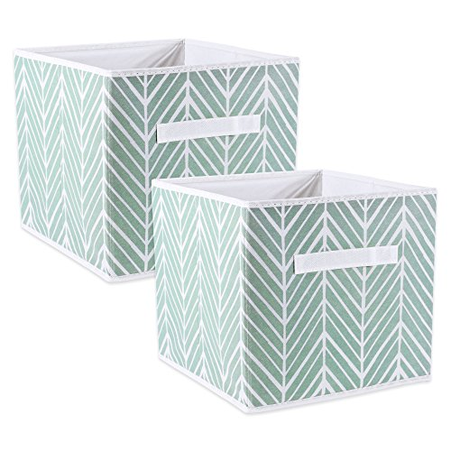 DII Foladble Polyester Herringbone Bin Small Set 11x11x11 Cube Mint