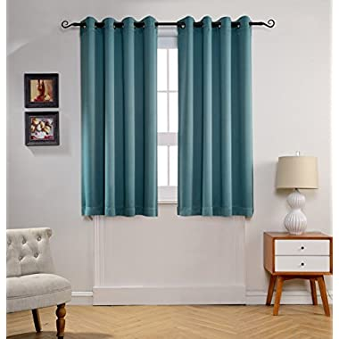 MYSKY HOME Solid Grommet top Thermal Insulated Window Blackout Curtains, 52 x 63 Inch, Teal, 1 Panel