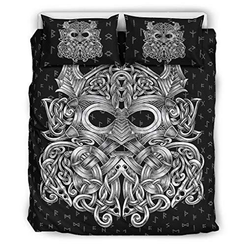 DAMKELLY Store Couvre-lit Viking Odin doux et doux pour la peau - 1 housse de couette et 2 taies d'oreiller - Lavable en machine - Blanc - 168 x 229 cm