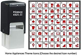Printtoo Personalized Home Appliances Theme Icons Rubber Stamp Self Inking Stamper 24 mm-Red