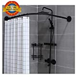 Barre Rideau Douche Extensible sans Percage, Barre De Douche Extensible, Tringle Douche Angle sans Percage, Tringle à Rideau...