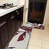 Juego de 2 alfombras de cocina y estera, color crema y burdeos, diseño de hojas de acuarela, antideslizante, suave, suave, absorbente, para cocina, piso, baño, fregadero, lavandería, oficina