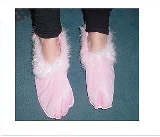HW152 Blue Fluffy Fairy// Princess Shoe Covers Fancy Dress Size Childs Medium