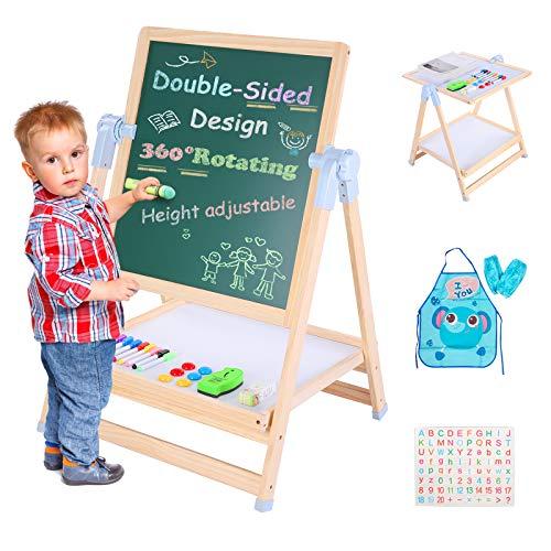Easel for Kids, Art Easel, Double-Sided Magnetic Whiteboard & Chalkboard for Kids, Height Adjustable Standing Easel Birthday Gift for Boys & Girls