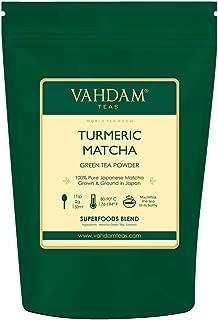 TURMERIC + MATCHA Green Tea Powder,1.76oz - Powerful SUPERFOODS Blend Rich with Curcumin - Pure Japanese Matcha Powder with Indian Turmeric Powder 🍵 137x Anti-OXIDANTS,Delicious Matcha Latte