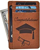 Personalized Wallet for Graduation Gifts - Leather Front Pocket Card Holder