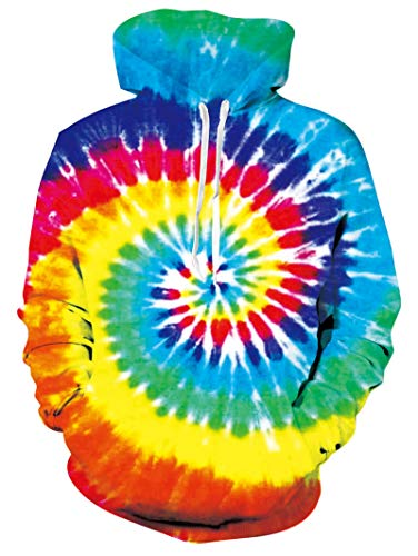 RAISEVERN Unisex Cool Hoodie Funny Drawstring Pullover Sweatshirts 3D Rainbow Neon Tie-dye Paint Print Long Sleeve Shirts Lightweight Colorful Hooded with Pockets for Men Women