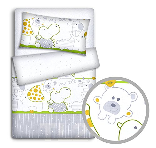 Babymam Babybedset kussensloop en dekbedovertrek voor babybedje, dierentuin, groen, 2-delig