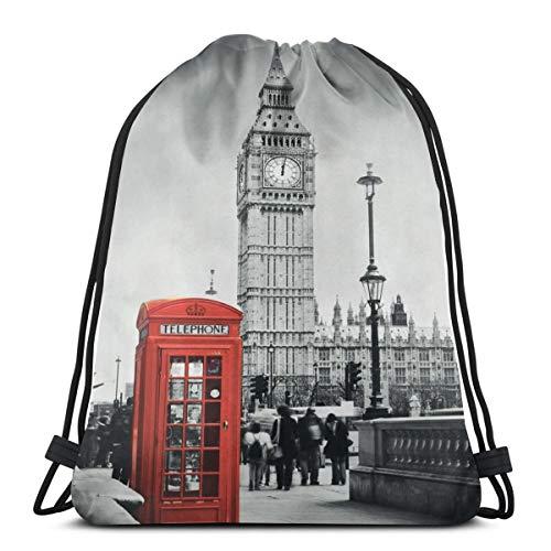 YUDILINSA Sac à Dos Cordon Sac de Gym Sackpack,Cabine téléphonique célèbre et Le Big Ben en Angleterre Street View Symbols of Town Retro UK Theme,Sac de Sport avec Poche pour Sac à Cordonnet