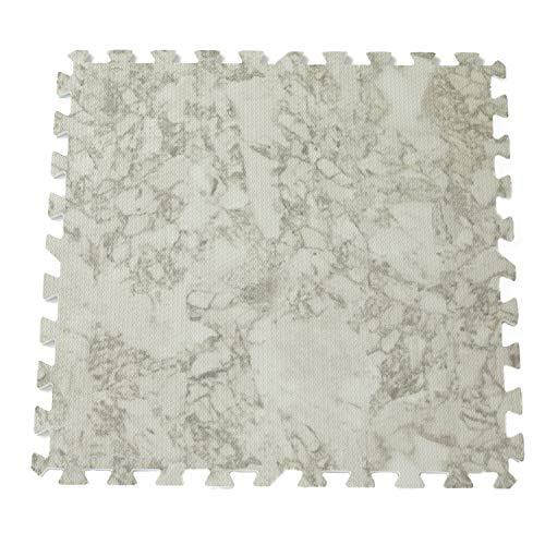 LOWYA ジョイントマット 6畳 サイドパーツ 32枚 大理石柄 フロアマットホワイトマーブル