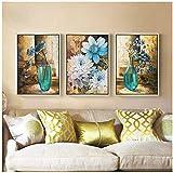 Pinturas de 3 paneles para dormitorio, pared de hotel,lienzo moderno, cuadros de pared para decoración de sala de estar, cuadros de 40x60 cm con marco azul