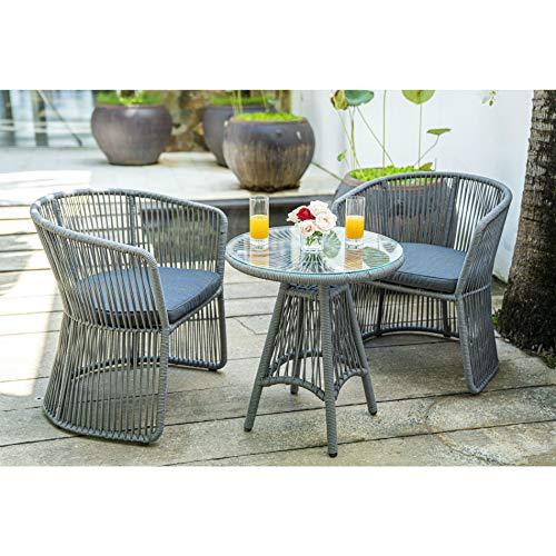 Home Islands Kwai Cocktail-Set, Gartenmöbel-Set 3-teilig, 2 Stühle + Tisch, mit Seilgeflecht/Rope