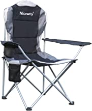 Niceway Oversized Portable Camping Chair with Armrest Cup Holder and Carry Bag