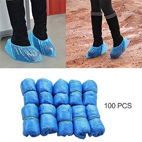 MRSA 100 Stück/Set Einweg-Kunststoff-Stiefelabdeckungen aus blauem Kunststoff Überschuhe Schuhüberzug