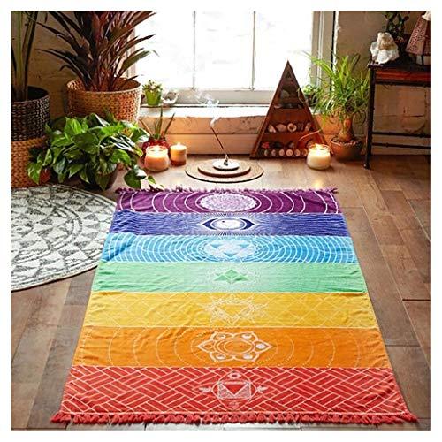 ErYao Rainbow Chakra Tapestry Towel Yoga Beach Mat, Meditation Yoga Rug Towels Mexico Chakra Tassel Striped Floor Mat (Multicolor)