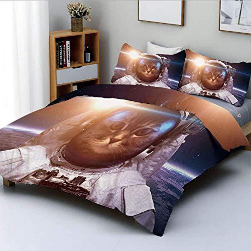 621 Brave Astronaut Kitty im Raumanzug über der Welt mit Mondfinsternis-HintergrundDekoratives 3-teiliges Bettwä Weiß und Blau, Kinder &