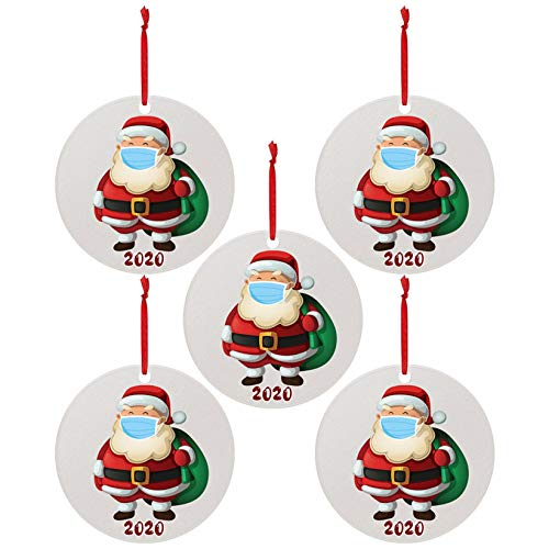 AJFIEF 5pc 2020 Merry Christmas Ornaments, Santa Claus Wearing A Face Másk Festival New Year Decorative Hanging Pendant, 3.14'' Christmas Creative Personalized Gift Home Party Decor (A)