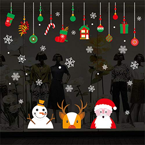 Weihnachten Fensterbilder, Schneemann Rentier Fensterbilder Aufkleber Aufkleber Weihnachten Winter Wonderland Dekorationen verziert Party Supplies (A)
