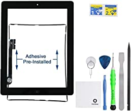 Fixcracked Touch Screen Replacement Parts Digitizer Glass Assembly for Ipad 4 + Professional Tool Kit (black)