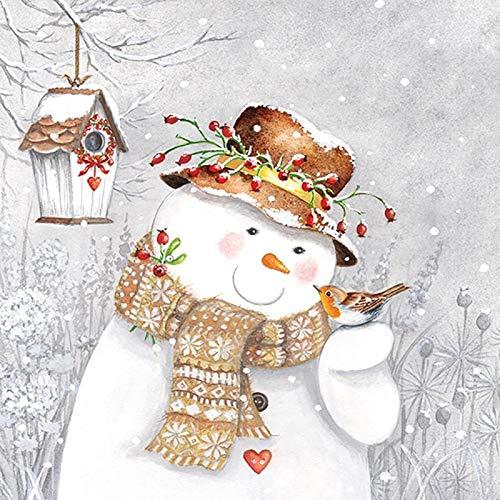Ambiente Weihnachten Serviette 33cm Snowman Holding Robin Servietten