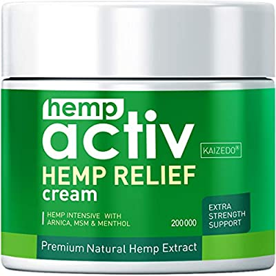 HEMPACTIV Hemp Pain Relief Cream | Hemp + MSM + Arnica + Menthol | Relieve Muscle, Joint & Arthritis Pain | Effective Hemp Pain Cream | 2oz from KAIZEDO