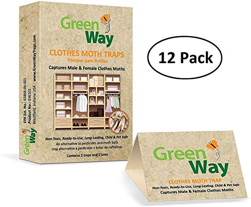 GreenWay Clothes Moth Traps (12 Pack - 24 Traps)   Pheromone Attractant, Ready to Use   Heavy Duty Glue, Safe, Non-Toxic with No Insecticides or Odor, Eco Friendly, Kid and Pet Safe