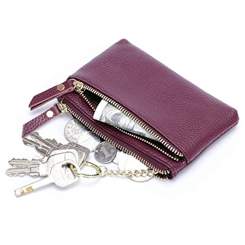 GeSoo portemonnee van leer met sleutelhanger, drievoudige ritssluiting, voor dames en heren Paars