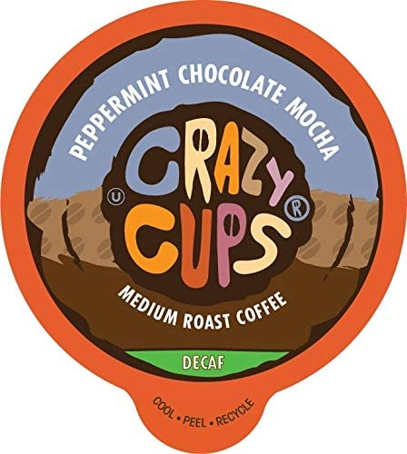 Crazy Cups Flavored Decaf Coffee Pods Decaf Peppermint Chocolate Mocha Decaf Single Serve Coffee product image
