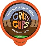 Crazy Cups Decaf Flavored Coffee Pods, Peppermint Chocolate Mocha, Decaffeinated Coffee for Keurig K Cups Machines, Hot or Iced Coffee, Decaf Coffee in Recyclable Pods, 22 Count