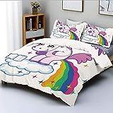 Juego de funda nórdica, unicornio caca, arcoíris sobre nubes, creativo para niños, niñas, cuento de hadas, fantasía, dibujos animados, juego de cama decorativo de 3 piezas con 2 fundas de almohada, mu