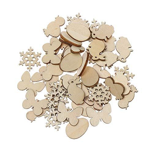 Honglilai 50 pezzi di legno per coniglio pasquale naturale da appendere, per uova di legno fai da te, decorazioni pasquali