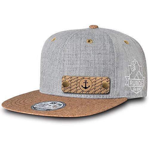 RUBDE Cap2 | Individuelle Snapback Cap Basecap Kappe mit Lederpatch, NFC-Sticker und QR-Code Größen - personalisierbar | Unisex - Herren Damen Kinder Kids | True Cork Kork L