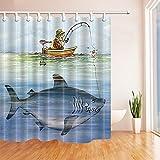 NJMRZX Whale Decor Man Angeln im Boot Duschvorhang -widerstandsfähiges Polyestergewebe Badezimmerdekorationen Badvorhänge Haken enthalten 71X71 Zoll