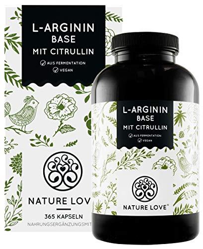 NATURE LOVE® L-Arginin Base mit Citrullin - Einführungspreis - Hochwertiges pflanzliches Arginin in BASE Form mit 99,7+{bdbbadd9a9802706ec916335d1255630971e78e49e19802d68d758fb731b8b0c} Reinheit - 365 Kapseln - Hochdosiert, vegan, in Deutschland produziert