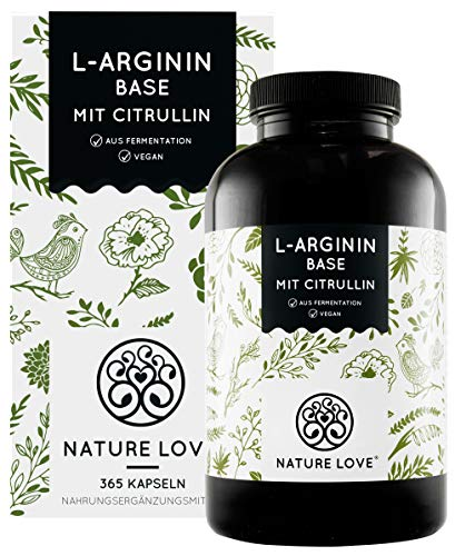 NATURE LOVE® L-Arginin Base mit Citrullin - Premium: pflanzliches Arginin in BASE Form mit 99,7+% Reinheit - 365 laborgeprüfte Kapseln - Hochdosiert, vegan, hergestellt in Deutschland