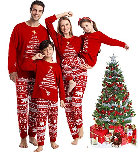Oriental eLife Family Christmas Pjs Conjuntos a Juego, Pjs de Navidad, Pijamas de Vacaciones para la Familia, Tops de Manga Larga con Estampado de Navidad Ropa de Dormir para mamá, papá, niños