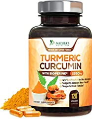 Turmeric Curcumin with Bioperine: Our premium T3 Turmeric Curcumin Complex 1950mg, with standardized 95% Curcuminoids and 15mg Bioperine (Black Pepper) for best absorption Effective Ingredients: Turmeric is arguably 1 of the most powerful herbs on th...