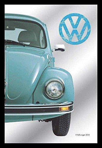 Empire Merchandising 657602Volkswagen–Half Beetle Media Mariquita–Espejo Serigrafiado (Marco de plástico imitación de Madera, de Culto de Espejo–20x 30cm