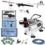 FOBUY Complete Professional Airbrush Multi-Purpose Airbrushing System With Dual Action AirBrush Spray Gun for...