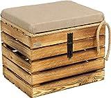 Kistenbaron Große Holzkiste mit Deckel Sitzfläche - 50x40x44cm - Natur...